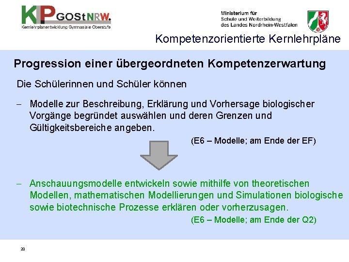 Kompetenzorientierte Kernlehrpläne Progression einer übergeordneten Kompetenzerwartung Die Schülerinnen und Schüler können - Modelle zur