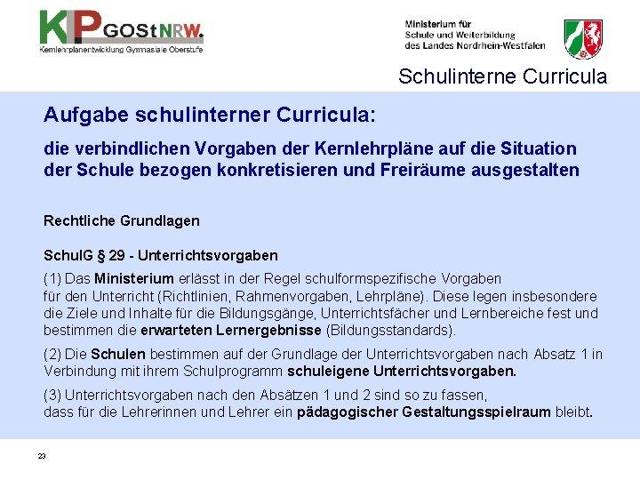 Schulinterne Curricula Aufgabe schulinterner Curricula: die verbindlichen Vorgaben der Kernlehrpläne auf die Situation der