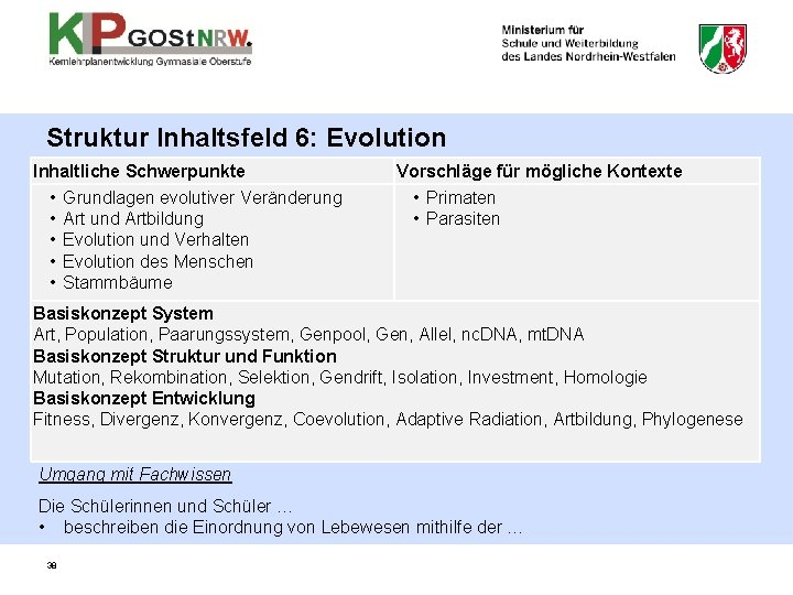 Struktur Inhaltsfeld 6: Evolution Inhaltliche Schwerpunkte • • • Grundlagen evolutiver Veränderung Art und