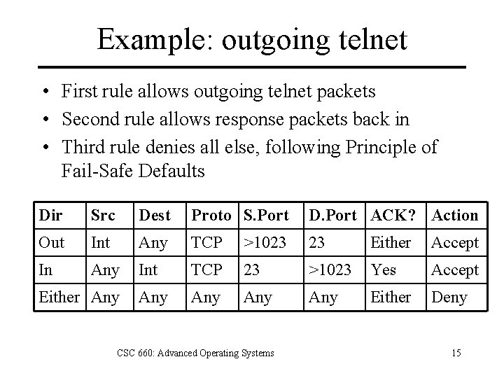 Example: outgoing telnet • First rule allows outgoing telnet packets • Second rule allows