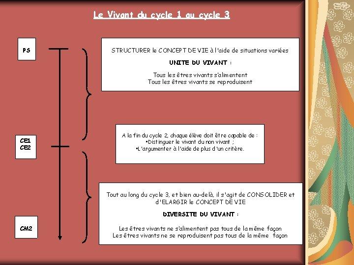 Le Vivant du cycle 1 au cycle 3 PS De la petite section au