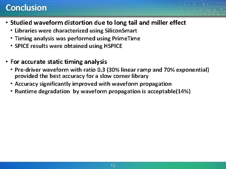 Conclusion • Studied waveform distortion due to long tail and miller effect • Libraries