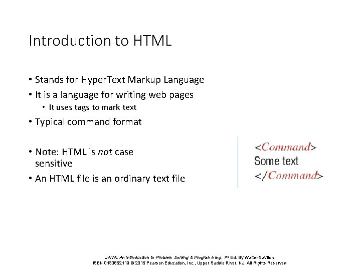Introduction to HTML • Stands for Hyper. Text Markup Language • It is a