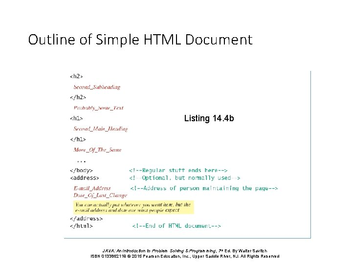 Outline of Simple HTML Document Listing 14. 4 b JAVA: An Introduction to Problem