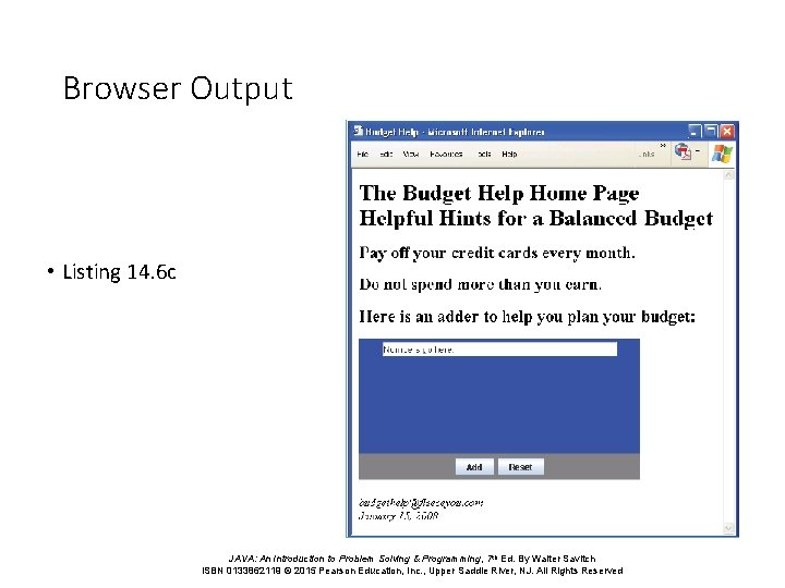 Browser Output • Listing 14. 6 c JAVA: An Introduction to Problem Solving &