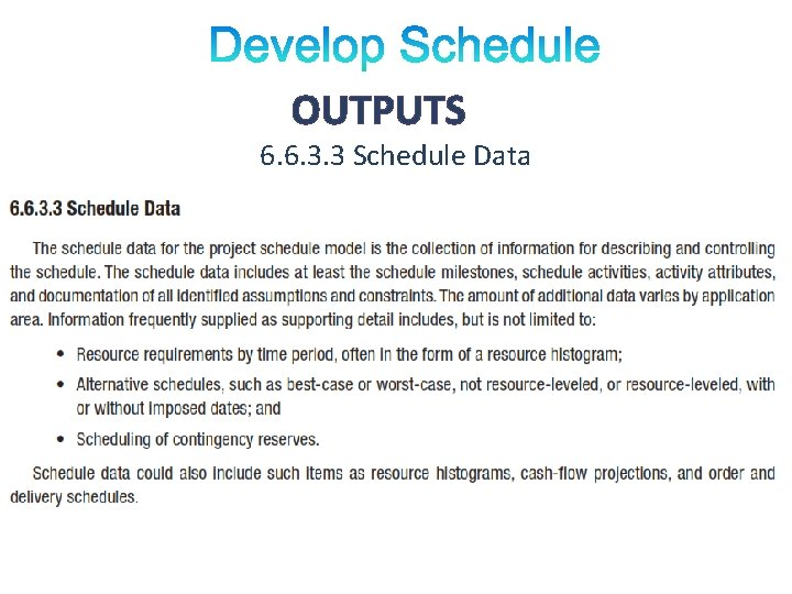 OUTPUTS 6. 6. 3. 3 Schedule Data
