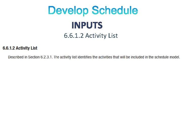 INPUTS 6. 6. 1. 2 Activity List