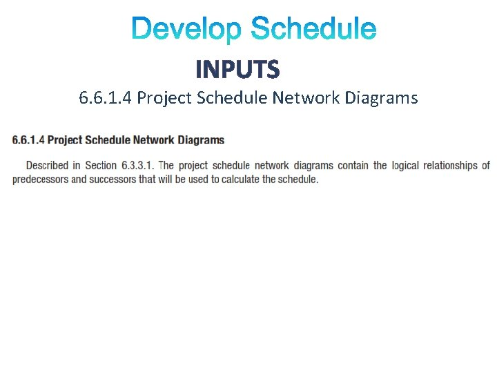 INPUTS 6. 6. 1. 4 Project Schedule Network Diagrams