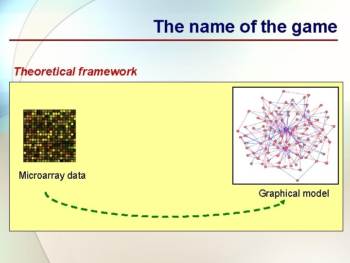 The name of the game Theoretical framework Microarray data Graphical model