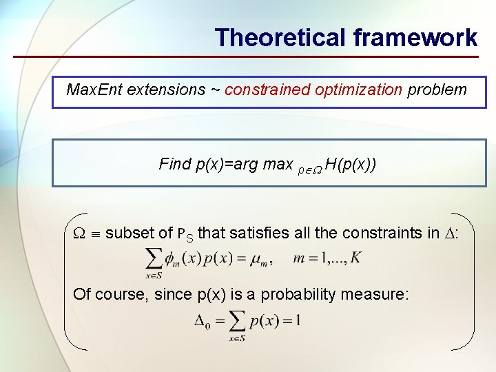 Theoretical framework Max. Ent extensions ~ constrained optimization problem Find p(x)=arg max p H(p(x))