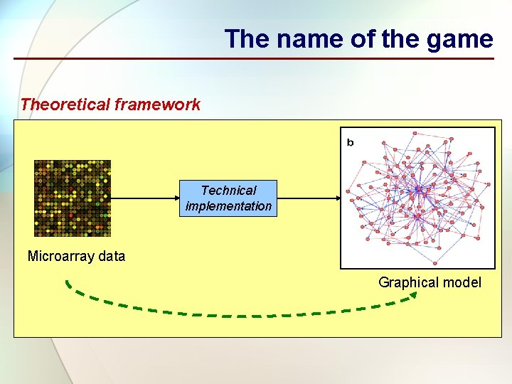 The name of the game Theoretical framework Technical implementation Microarray data Graphical model