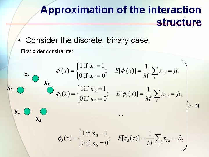 Approximation of the interaction structure • Consider the discrete, binary case. First order constraints:
