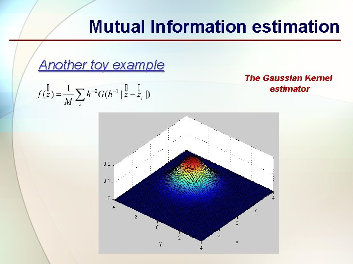 Mutual Information estimation Another toy example The Gaussian Kernel estimator