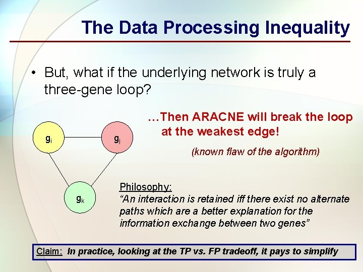 The Data Processing Inequality • But, what if the underlying network is truly a