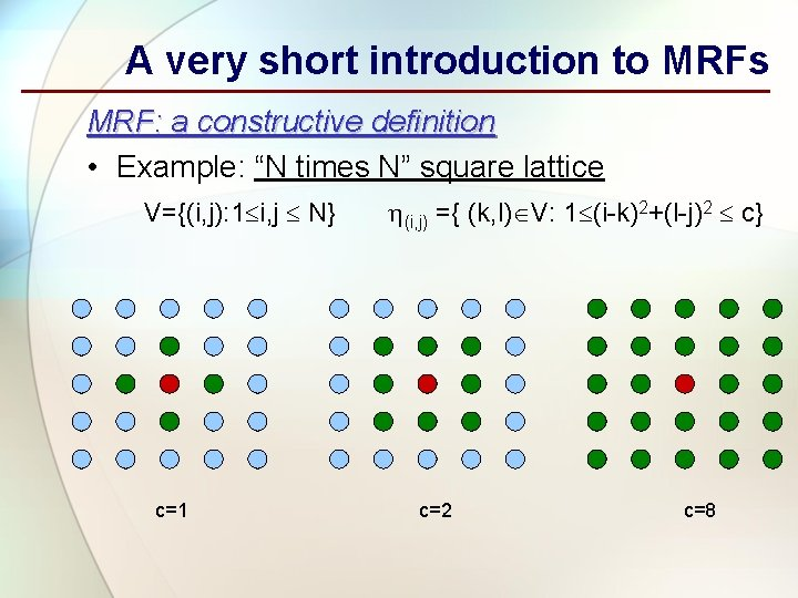 """A very short introduction to MRFs MRF: a constructive definition • Example: """"N times"""