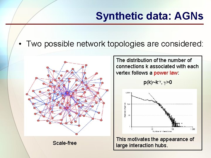 Synthetic data: AGNs • Two possible network topologies are considered: The distribution of the