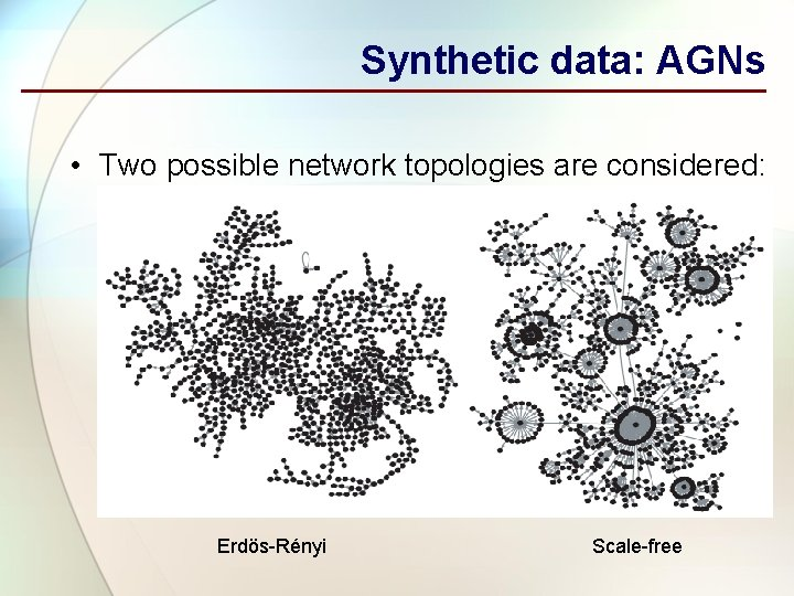 Synthetic data: AGNs • Two possible network topologies are considered: Erdös-Rényi Scale-free