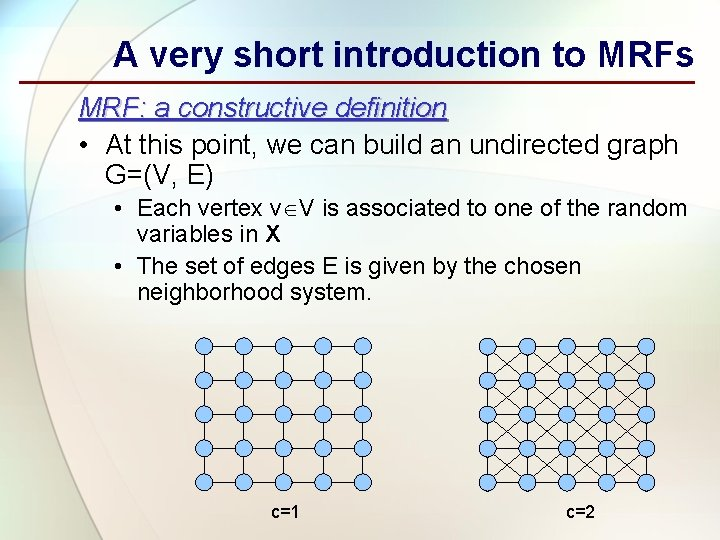 A very short introduction to MRFs MRF: a constructive definition • At this point,