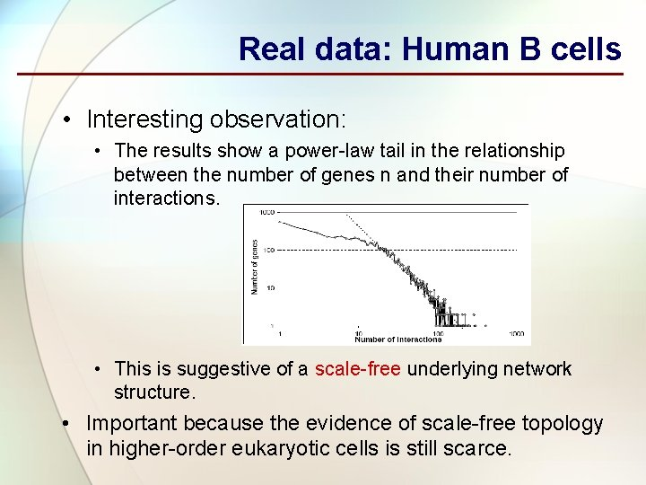 Real data: Human B cells • Interesting observation: • The results show a power-law