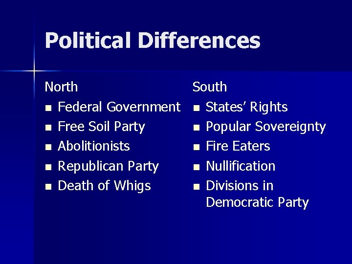 Political Differences North South n Federal Government n States' Rights n Free Soil Party