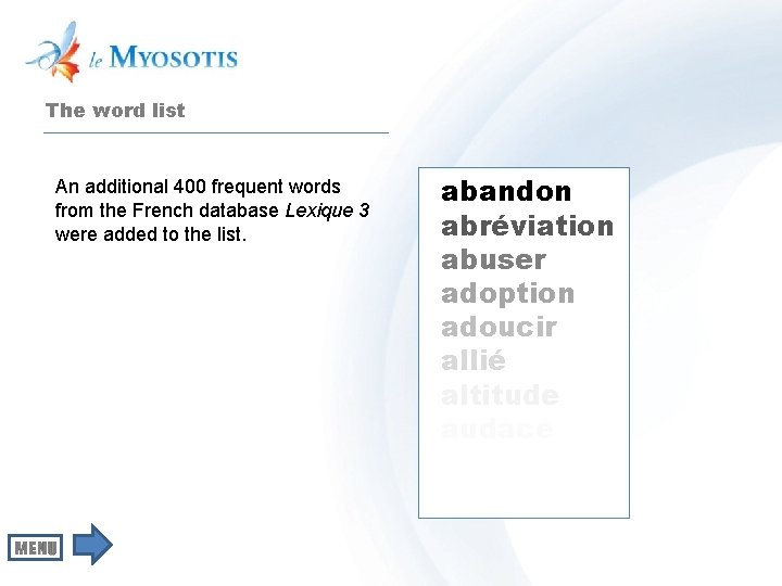 The word list An additional 400 frequent words from the French database Lexique 3