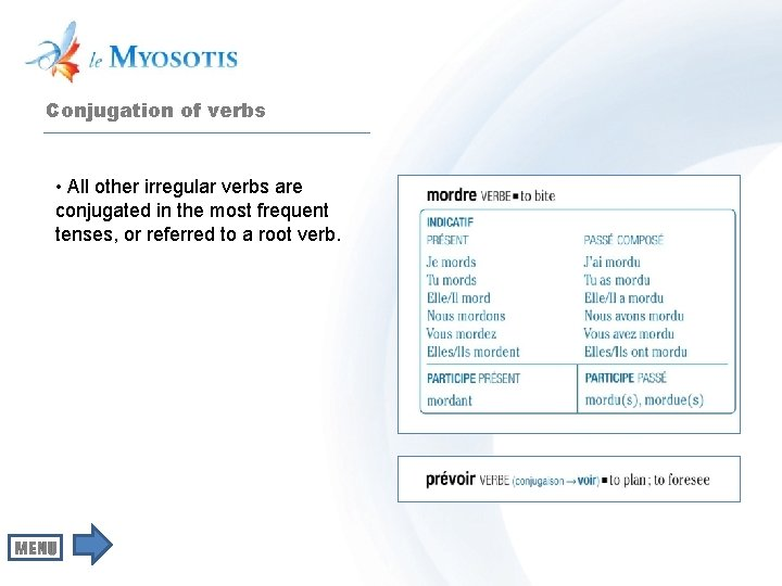 Conjugation of verbs • All other irregular verbs are conjugated in the most frequent