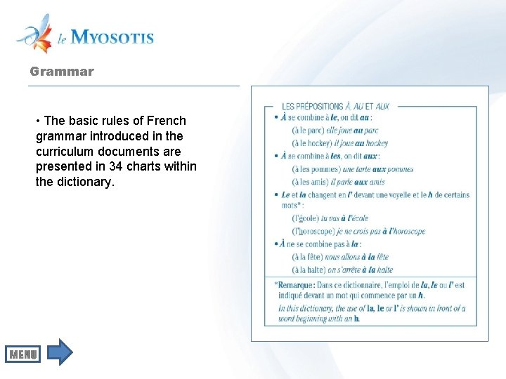 Grammar • The basic rules of French grammar introduced in the curriculum documents are