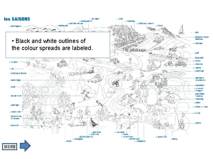 • Black and white outlines of the colour spreads are labeled.