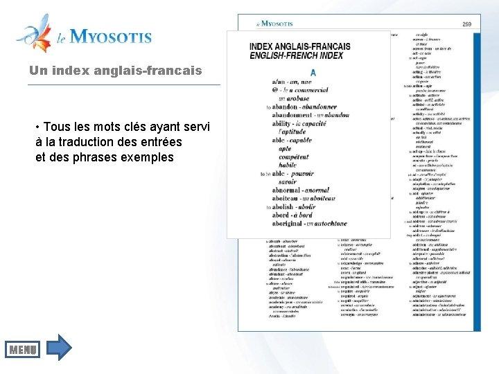 Un index anglais-francais • Tous les mots clés ayant servi à la traduction des
