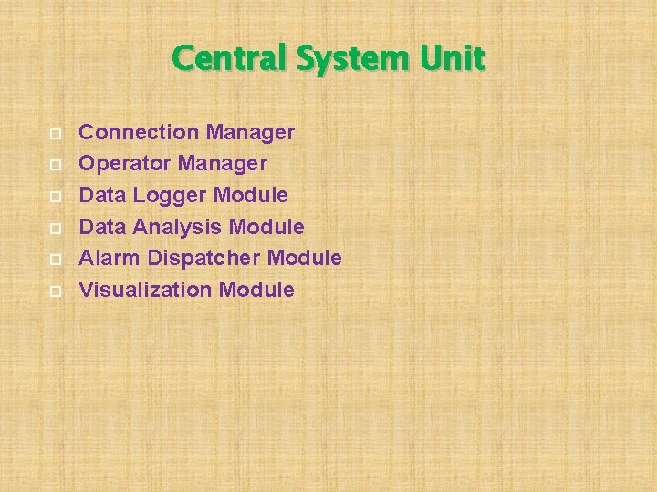 Central System Unit Connection Manager Operator Manager Data Logger Module Data Analysis Module Alarm