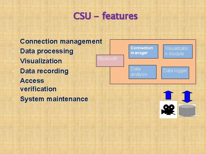 CSU - features • • • Connection management Data processing Bluetooth Visualization Data recording
