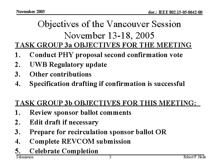 November 2005 doc. : IEEE 802. 15 -05 -0642 -00 Objectives of the Vancouver