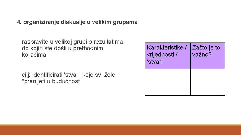 4. organiziranje diskusije u velikim grupama raspravite u velikoj grupi o rezultatima do kojih