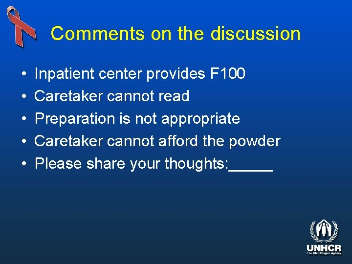 Comments on the discussion • • • Inpatient center provides F 100 Caretaker cannot