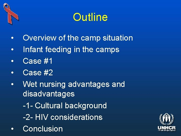 Outline • • • Overview of the camp situation Infant feeding in the camps