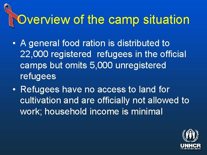 Overview of the camp situation • A general food ration is distributed to 22,