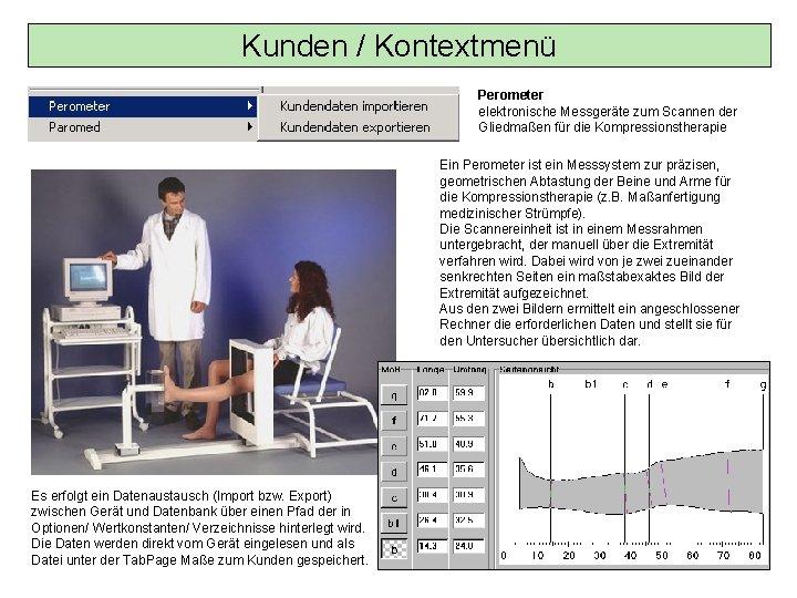 Kunden / Kontextmenü Perometer elektronische Messgeräte zum Scannen der Gliedmaßen für die Kompressionstherapie Ein