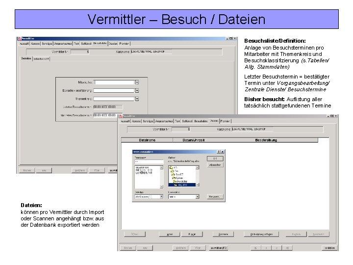 Vermittler – Besuch / Dateien Besuchsliste/Definition: Anlage von Besuchsterminen pro Mitarbeiter mit Themenkreis und