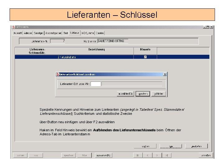 Lieferanten – Schlüssel Spezielle Kennungen und Hinweise zum Lieferanten (angelegt in Tabellen/ Spez. Stammdaten/