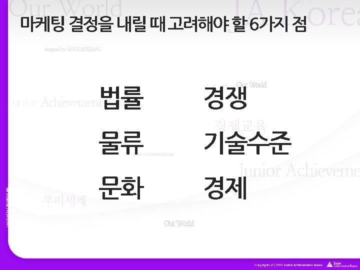 JA Korea Our World 마케팅 결정을 내릴 때 고려해야 할 6가지 점 designed by