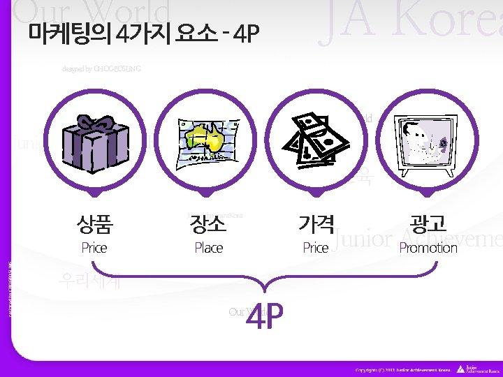 Our World 마케팅의 4가지 요소 - 4 P JA Korea designed by CHOGEOSUNG Our