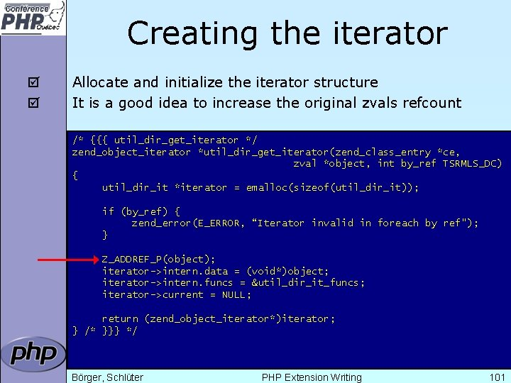Creating the iterator þ þ Allocate and initialize the iterator structure It is a