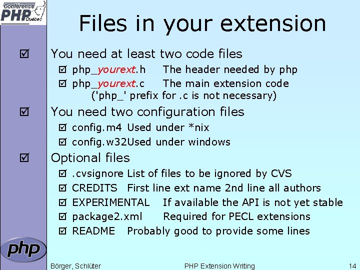Files in your extension þ You need at least two code files þ php_yourext.