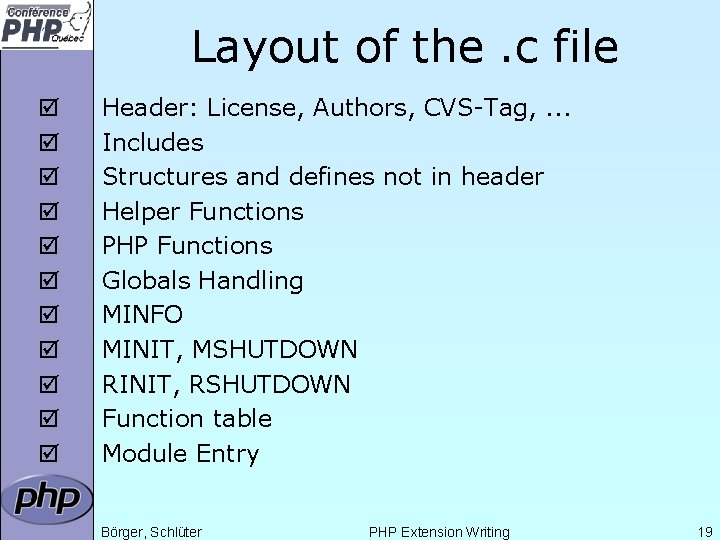 Layout of the. c file þ þ þ Header: License, Authors, CVS-Tag, . .