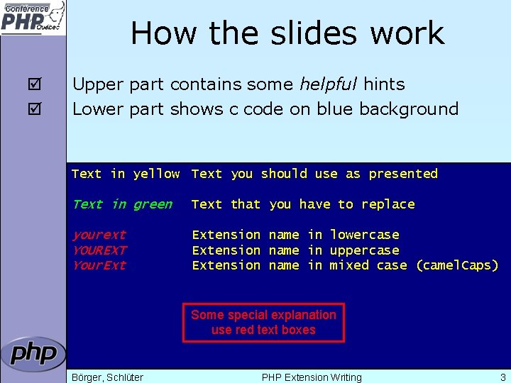 How the slides work þ þ Upper part contains some helpful hints Lower part