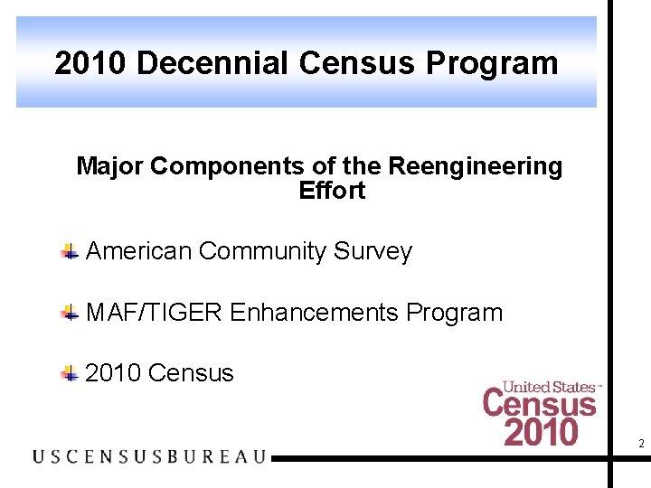 2010 Decennial Census Program Major Components of the Reengineering Effort American Community Survey MAF/TIGER
