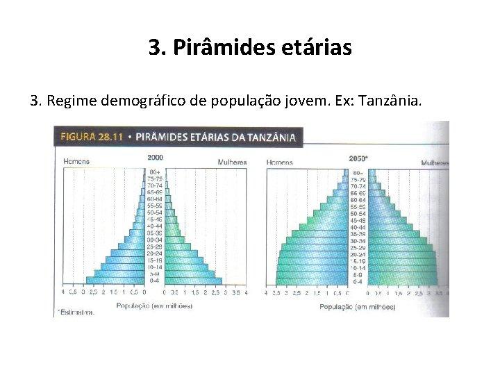 3. Pirâmides etárias 3. Regime demográfico de população jovem. Ex: Tanzânia.
