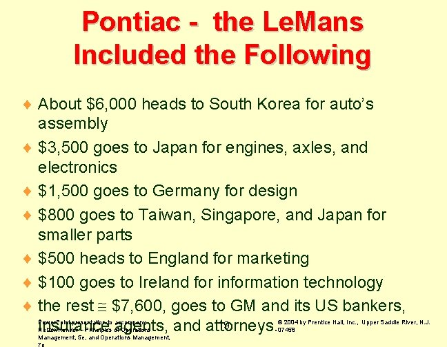 Pontiac - the Le. Mans Included the Following ¨ About $6, 000 heads to