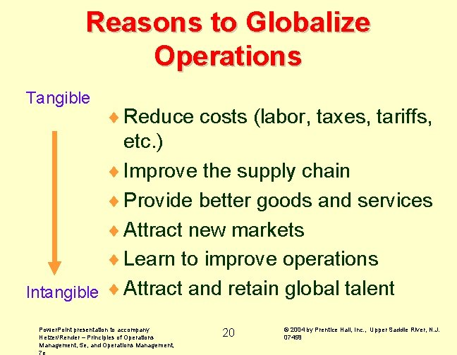 Reasons to Globalize Operations Tangible ¨ Reduce costs (labor, taxes, tariffs, etc. ) ¨