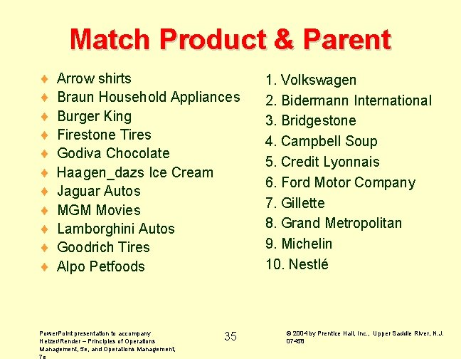 Match Product & Parent ¨ ¨ ¨ Arrow shirts Braun Household Appliances Burger King